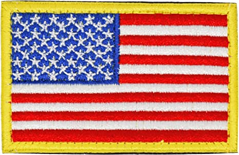 2 United States USA Flag Iron-On Patch American Morale  Emblem Red Border
