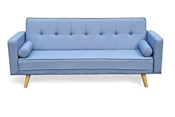 Cherry Tree Furniture NORA 3-Seater Fabric Sofa Bed Sleeper Sofa with  Cushions (Blue)