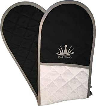 Black Oven Gloves KitchenCraft Master Class Deluxe Double Oven Glove Cotton
