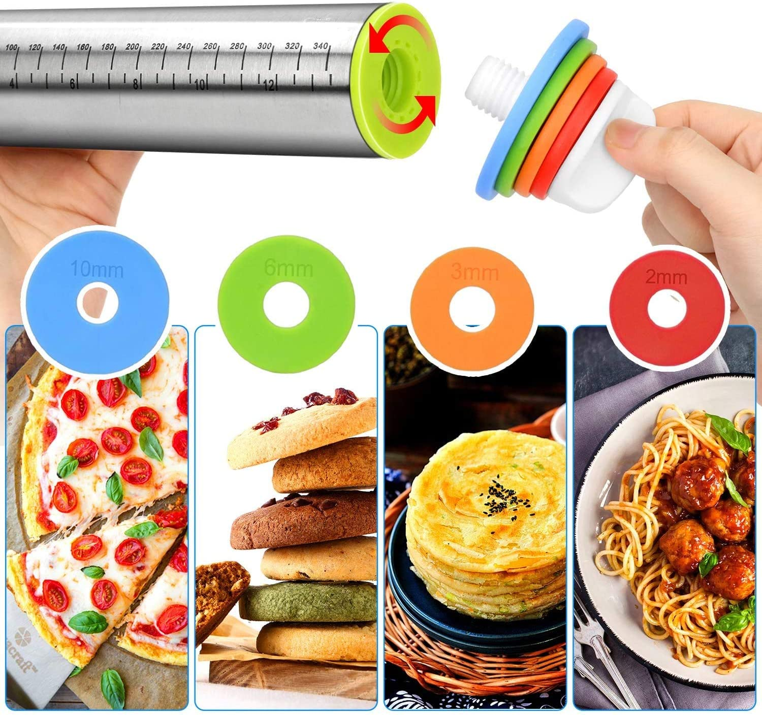 Adjustable Roller with Silicone Baking Red Mat for Baking Dough Pie Rolling Pin Stainless Steel Pasta and Cookies Pastries Pizza