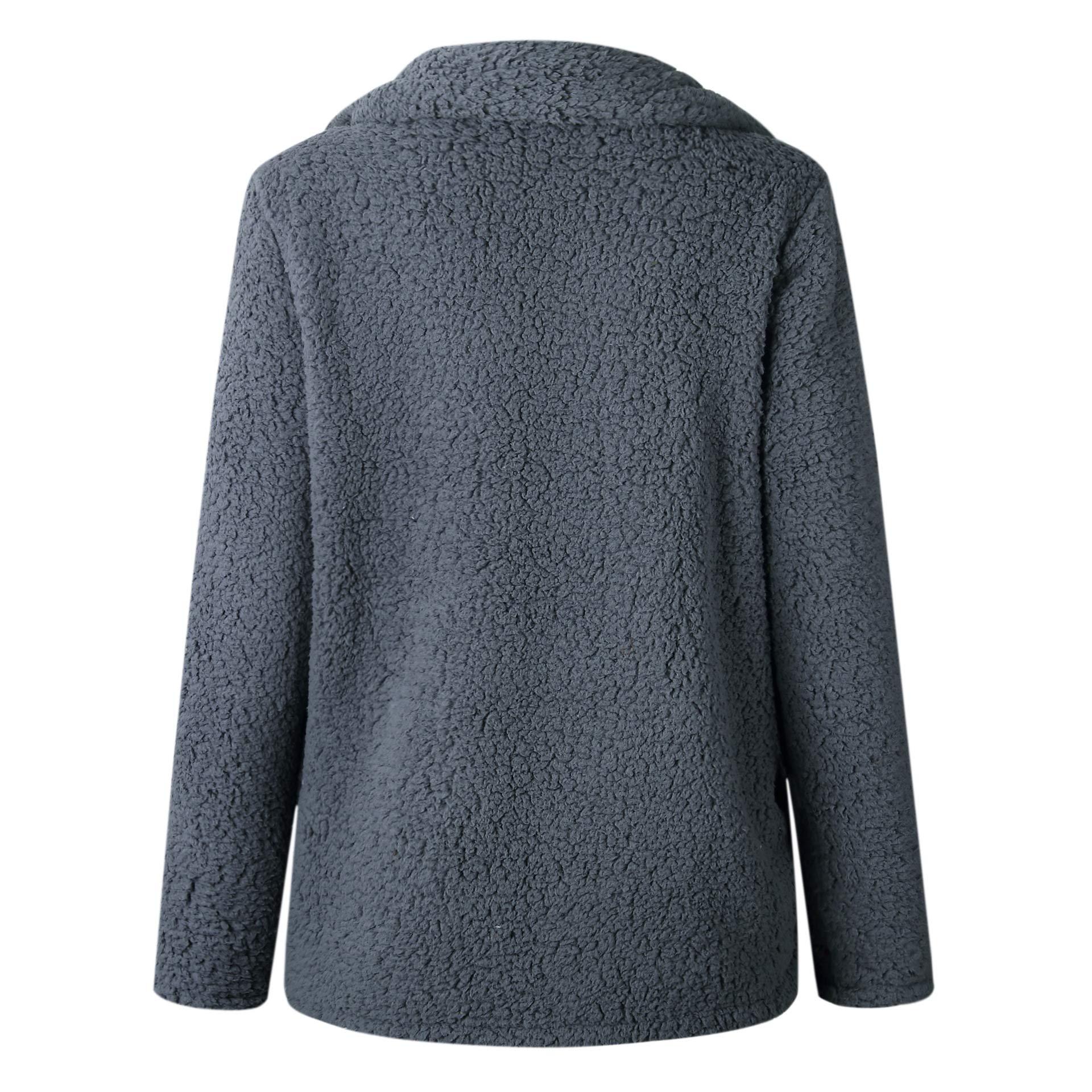 Asskdan Women's Open Front Fuzzy Cardigan Warm Fleece Jacket Coat Long Sleeve Oversized Coat Outwear with Pockets (Dark Grey, L) by Asskdan (Image #5)