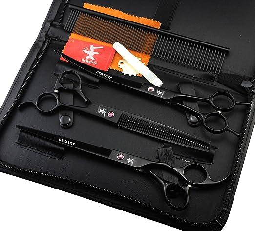 HEMATITE Set de tijeras de peluquería profesional negro de 8 pulgadas, tijeras de corte de gato y perro y tijeras de entresacar, incluyendo peine, estuche negro ...: Amazon.es: Productos para mascotas
