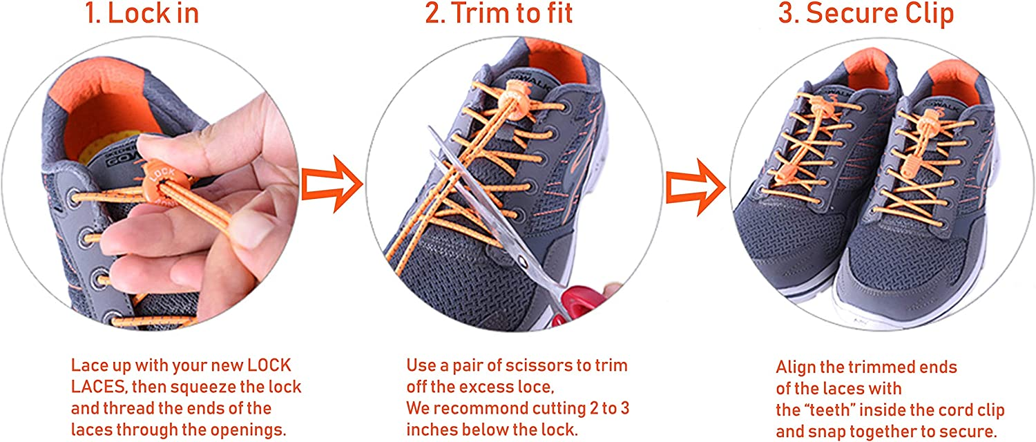 Orange Vision no tie shoelaces elastic for Children and Adults