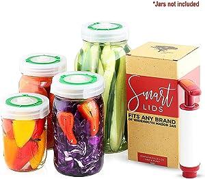 Smart Lids Fermentation Lids Kit, Set of 4 Airlock Lids with Date Tracker and Vacuum Pump - Fits All Wide Mouth Mason Jars - For Fermenting Sauerkraut, Kimchi, Pickles, Probiotic Foods