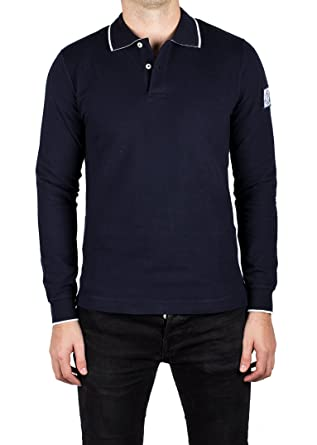 d8f1f0e7fedf Moncler Men s Gamme Bleu Pique Cotton Long Sleeve Polo Shirt Navy ...