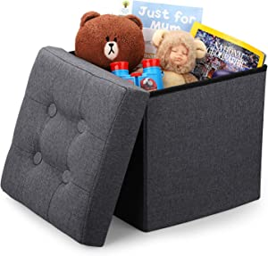 Vigamimn 12 inch Small Cube Ottoman Foot Rest Stool Short Foot Stools Foldable Tiny Ottoman Stool Linen Fabric Folding Storage Ottoman Thicker Foam Especially for Foot Rest