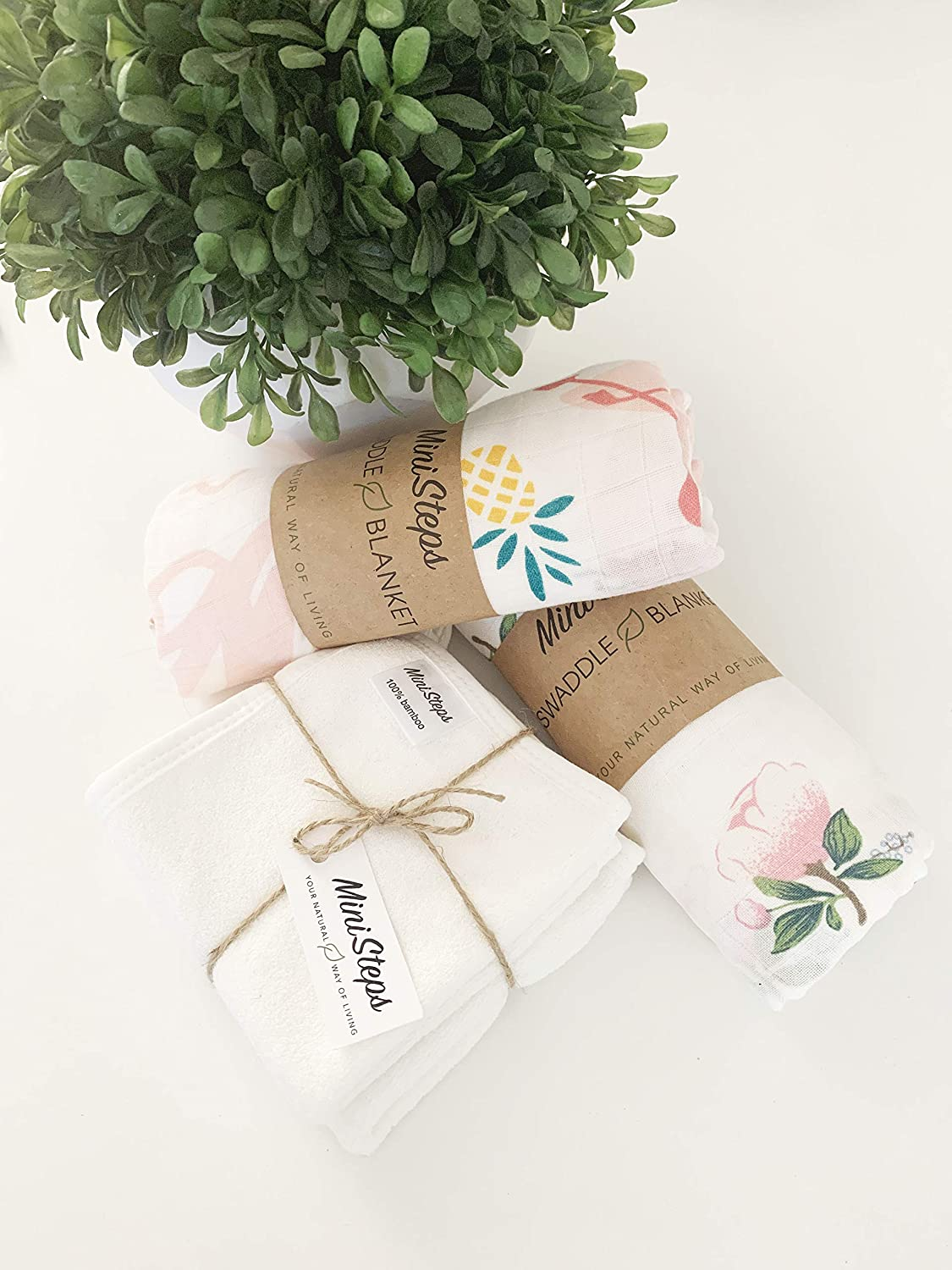 Super Soft and Breathable Baby Wrap Baby Shower Gift Baby Sho Bio Muslin Swaddle Blanket ORGANIC Cotton MiniSteps Muslin Blanket Nursing Cover Bamboo Swaddle Blanket Large Muslin Burp Cloth Eco-Friendly and Hypoallergenic Receiving Blanket