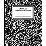 """Unruled Composition Notebook: Marble (Black), 7.5"""" x 9.25"""", Unruled Notebook, 100 Pages, Professional Binding"""
