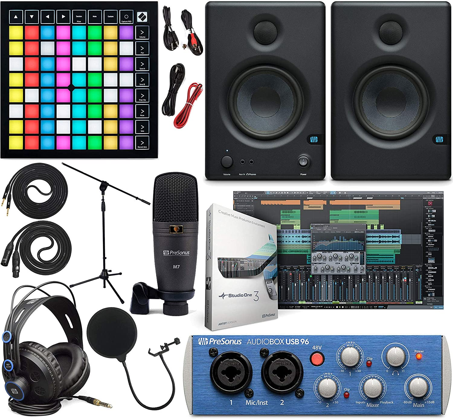 "PreSonus AudioBox 96 Audio Interface Full Studio Kit w/Studio One Artist Software Pack w/Novation Launchpad X Grid Controller for Ableton Live, Eris 3.5 Pair Studio Monitors & 1/4"" Instrument Cable"