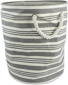 DII Stripe Woven Paper Storage Bin, Large Round, Urban Gray