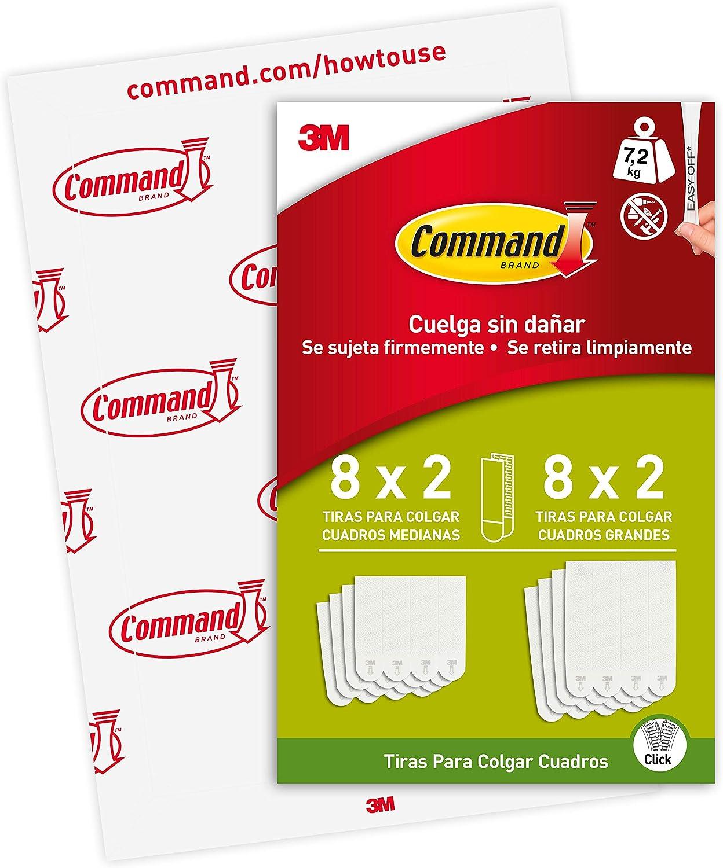 Command PH209-16EU - Tiras para colgar cuadros medianas y grandes blancas