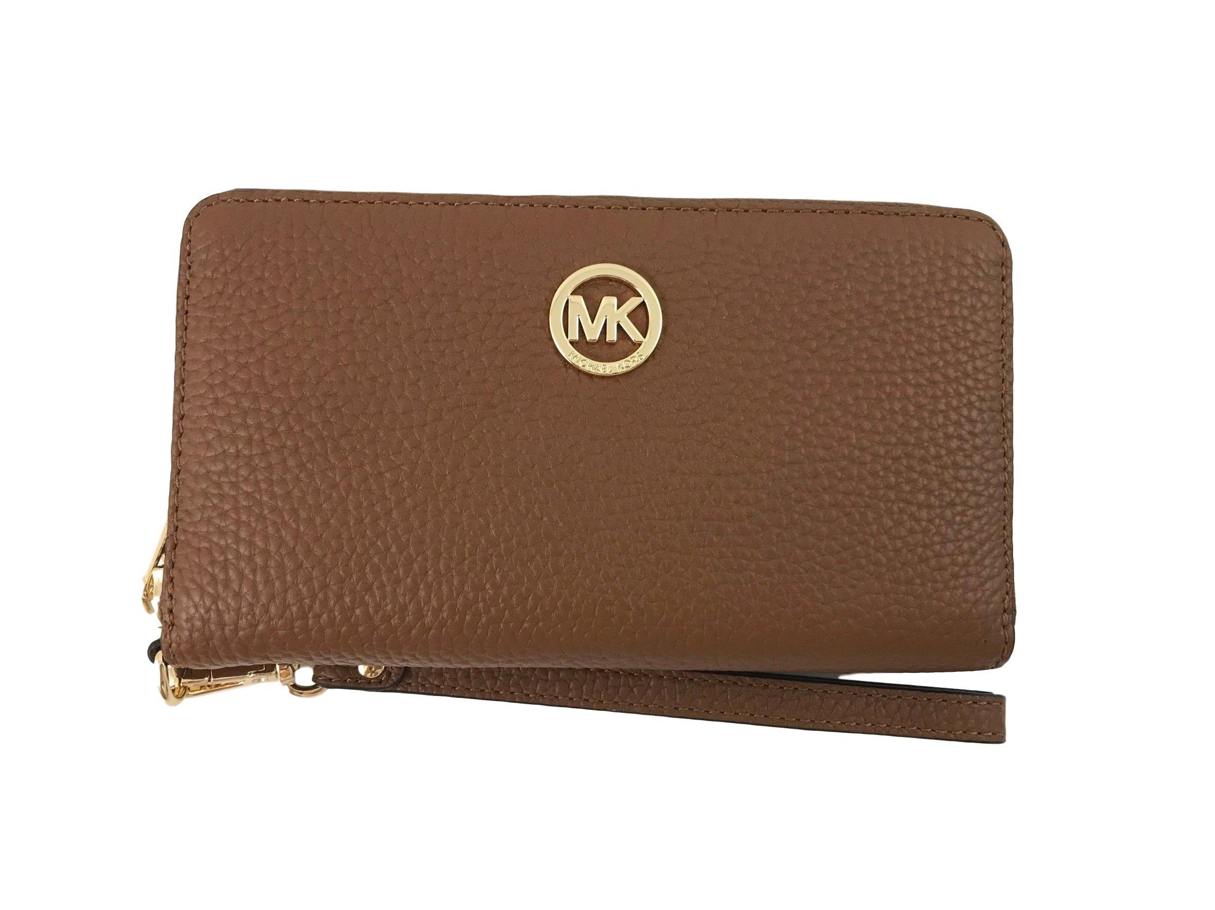 Michael Kors Fulton Large Flat Multifunction Leather Phone Case (Luggage Brown)