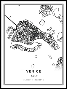 Squareious Venice map Poster Print | Modern Black and White Wall Art | Scandinavian Home Decor | Italy City Prints Artwork | Fine Art Posters 11x14