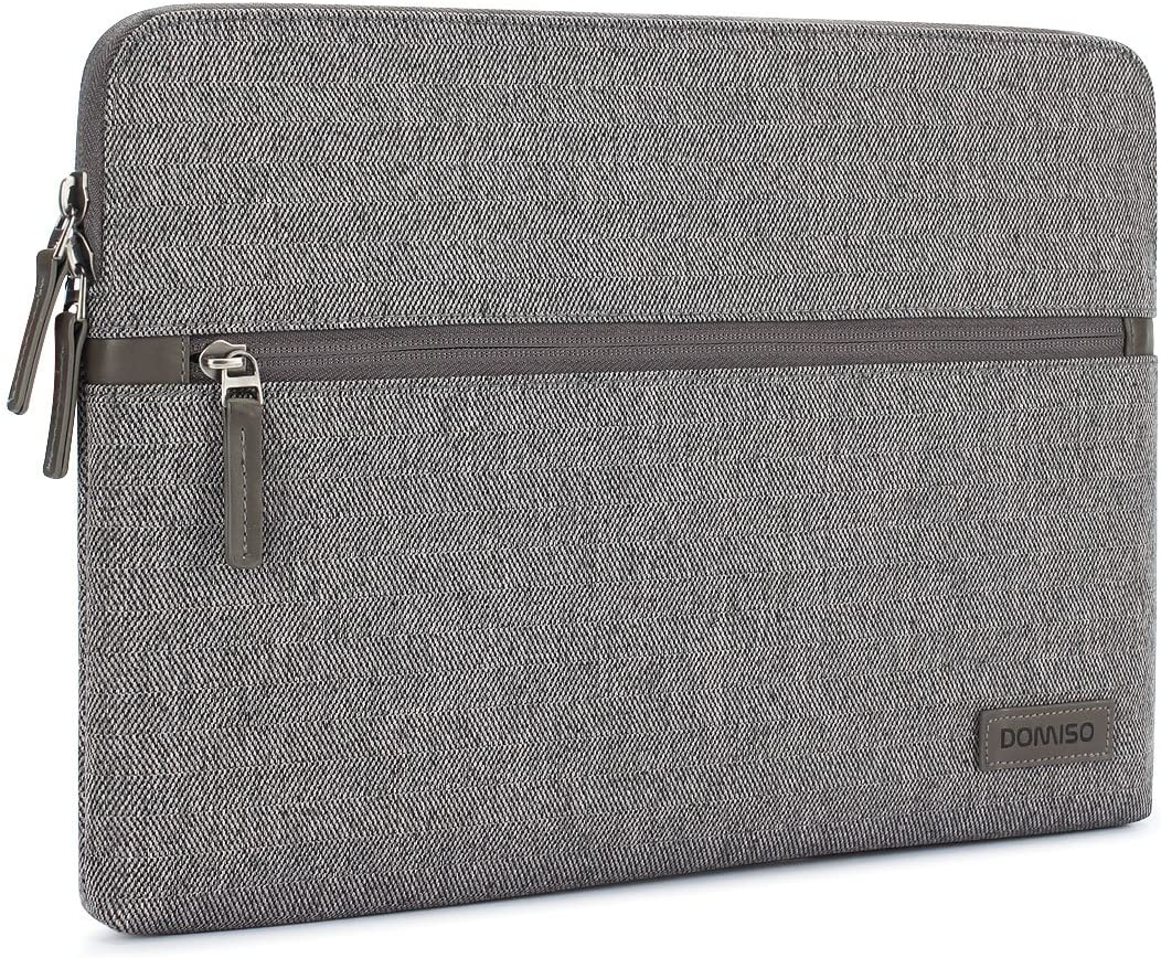 """DOMISO 13.3 Inch Laptop Sleeve Canvas Tablet Pouch Bag for 13-13.3 Inch Laptops / 13"""" MacBook Pro Retina/Dell Inspiron 13 XPS 13 / Lenovo Yoga 720 13.3"""" / ASUS/Acer/HP/MSI, Grey"""
