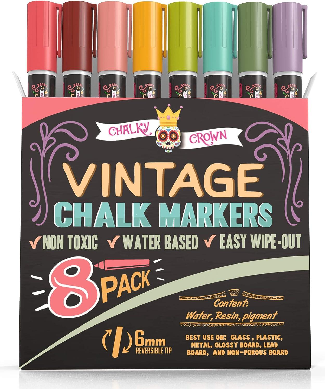 Liquid Chalk Markers for Blackboards - Wet Erase Marker Pens - Chalk Markers for Chalkboards Signs, Windows, Blackboard, Glass - 6mm Reversible Tip (8 Pack) - Vintage Colors