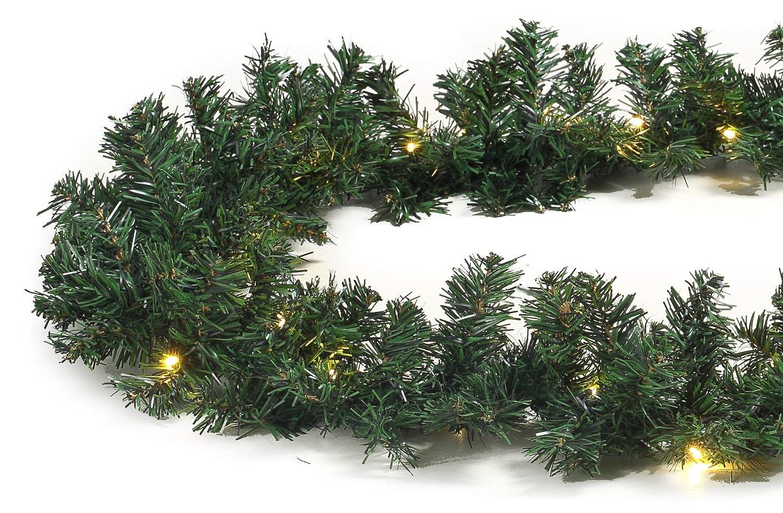 Tannengirlande grün 8, 1 m mit 120 LED beleuchtet Weihnachtsbeleuchtung außen Tannengirlande grün 8 Gartenpirat GP6133