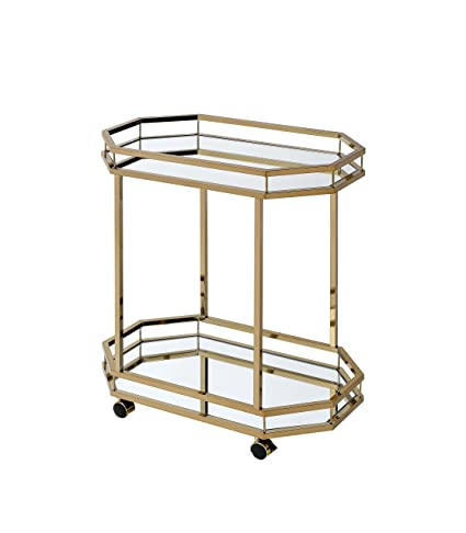 ACME Furniture 98197 Lacole Serving Cart, One Size, Mirror And Champagne