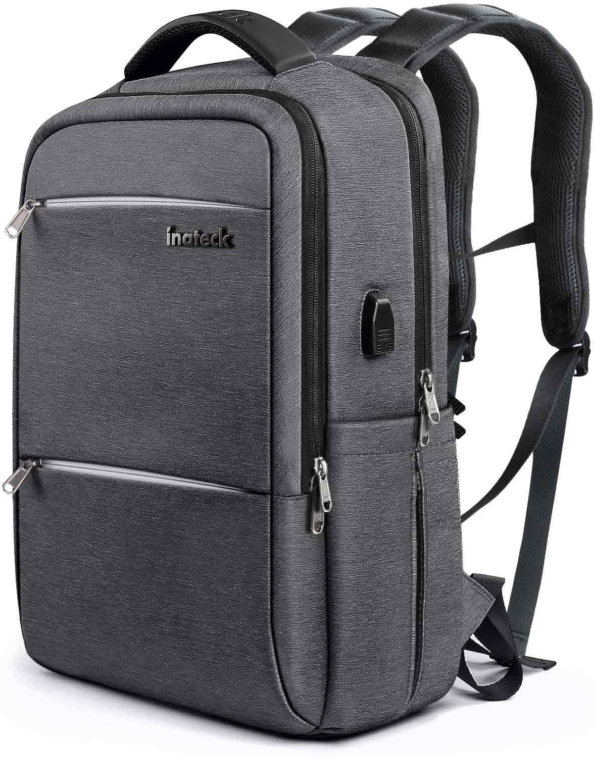 Inateck School Laptop Backpack Fits 15.6 Inch Laptops, College Business Travel Bag Rucksack with Waterproof Rain Cover/USB Charging Port, Dark Gray