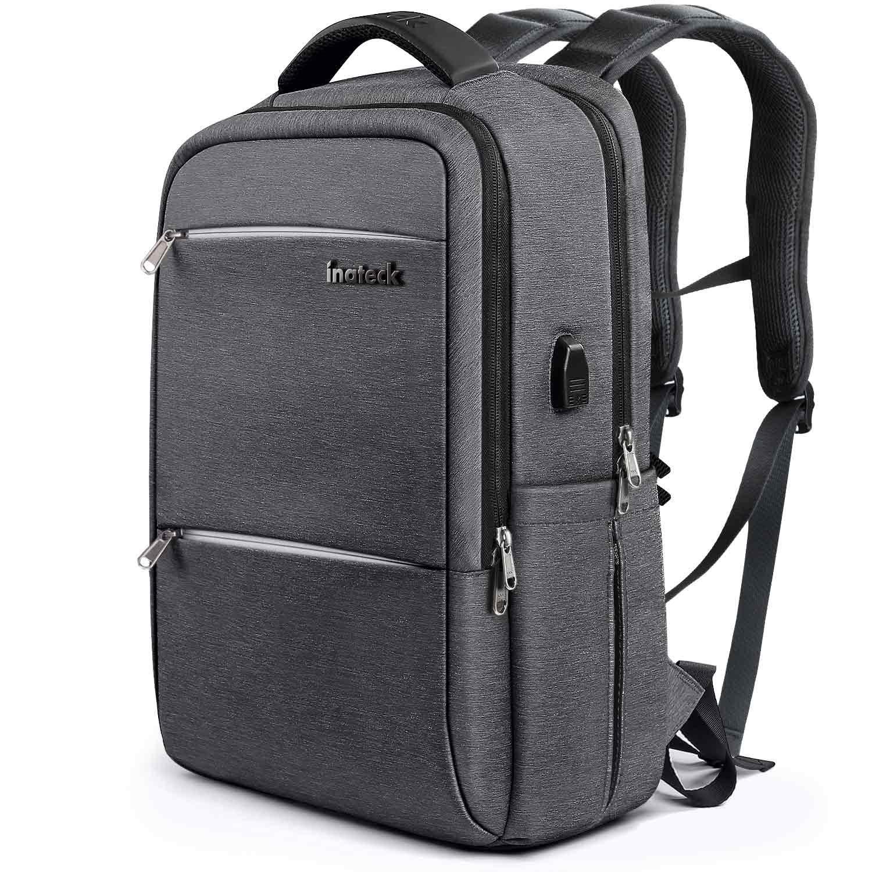 Inateck Mochila para portá tiles Laptop, hasta 15,6 Pulgadas Backpack para Ordenador del Negocio Trabajo Diario, Viaje, Escolar. con Enchufe Carga USB y protecció n Anti-Lluvia Impermeable,Azul Gris