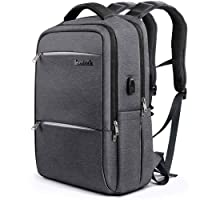 Inateck Laptop Backpack with USB Charging Port, Anti-Theft School Bag Business Travel Backpack Fits Up to 15.6 Inch Laptops, Rucksack with Waterproof Rain Cover and Luggage Belt - Dark Grey