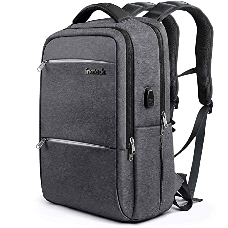 53c21e556 Amazon.com: Inateck Slim Laptop Backpack Fits 15.6 Inch Laptops, Business  Travel Bag Rucksack with Waterproof Rain Cover/USB Charging Port , Dark  Grey: ...