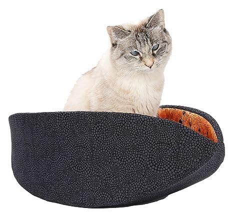 Amazon Com Cat Canoe Modern Cat Bed Black With Orange Spiderwebs