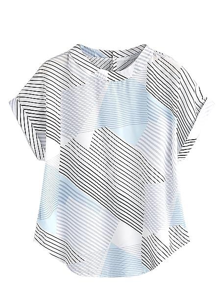 40d3e93044 SheIn Women's Print Curved Hem Top Cuffed Short Sleeve Blouse