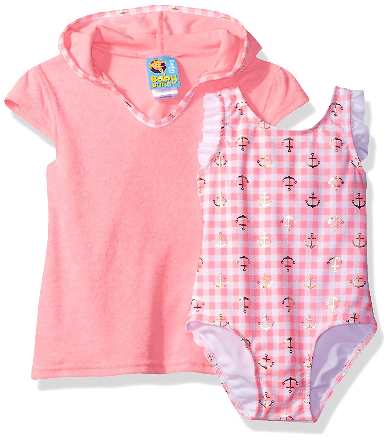 Baby Buns Girls' Toddler Anchor Away Swim Set Terry Cover Up W23833
