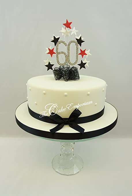 Cake Topper Star Burst Spray Diamante 60th Birthday Number Red Black