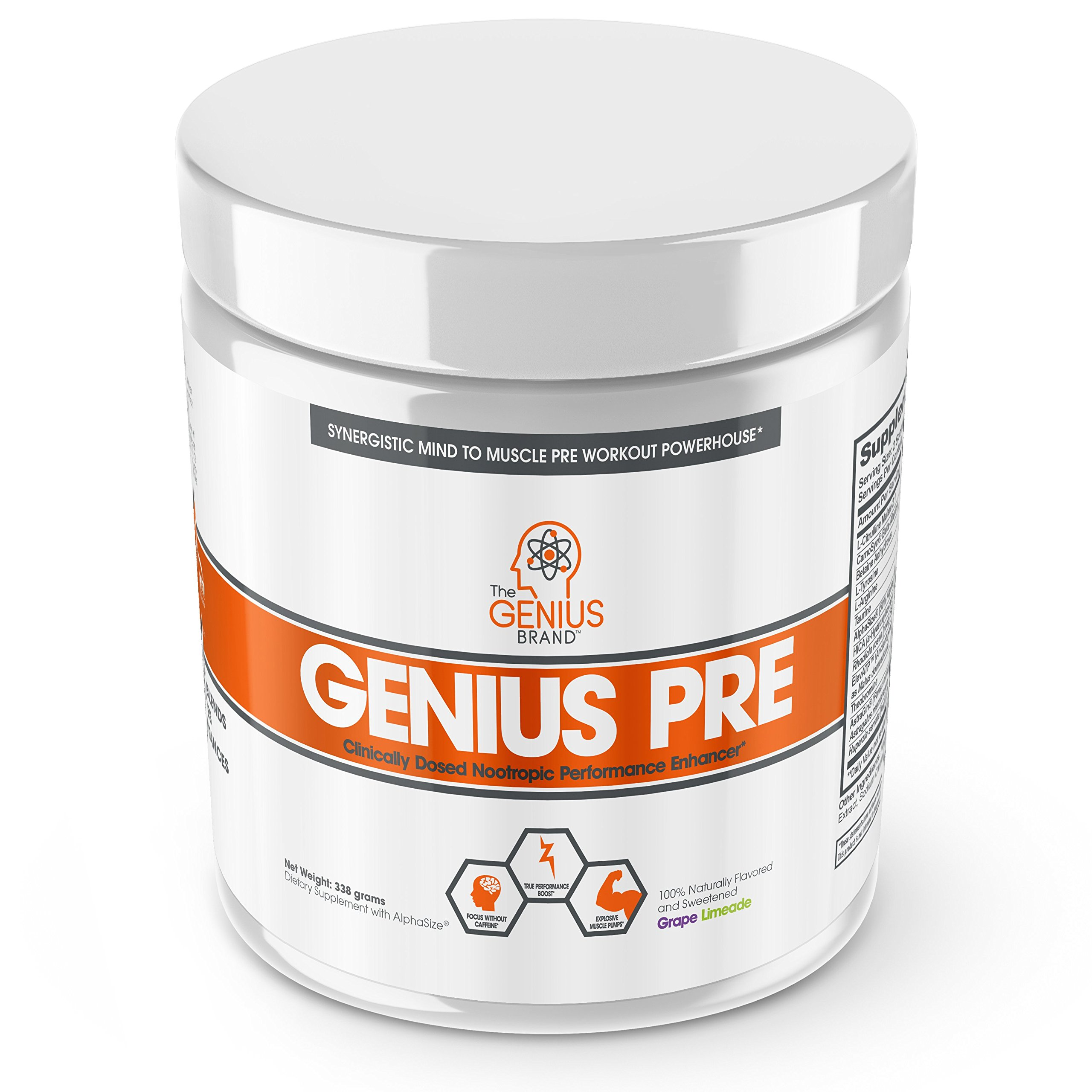 Genius Pre Workout - All Natural Nootropic Preworkout Powder & Caffeine-Free Nitric Oxide Booster with Beta Alanine and Alpha GPC - Focus, Energy and Muscle Building Supplement, Grape Limeade, 338G by The Genius Brand