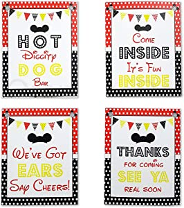 Mickey Party Sign Set of 4 - 8 x 10 inch Mickey Mouse Party Supplies Birthday Sign Printed in Card stock | Mickey Mouse Clubhouse Inspired Door Signs | Food Labels Disney Decorations Hot Dog Bar Decor