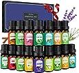 Homasy 16 X 5ml Aceites Esenciales, Aceite aromático puro de aromaterapia, conjunto de aceite aromático para difusor, humidificador, lavanda, naranja dulce, árbol de té, limón y mucho más