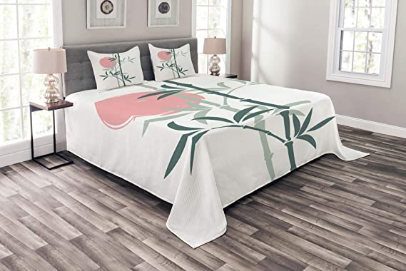 Details about  /Asian Quilted Bedspread /& Pillow Shams Set Chinese Bonsai Roots Print
