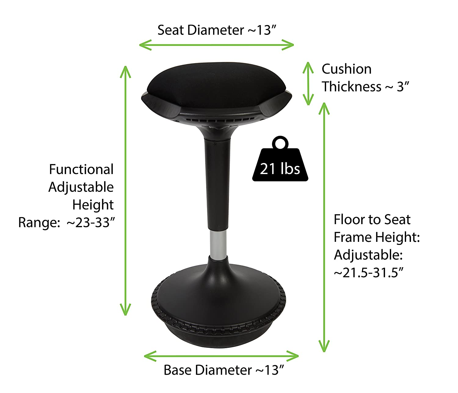 Amazon.com  Uncaged Ergonomics WOBBLE STOOL 2 Tall Adjustable Height Active Sitting Office Chair u0026 Ergonomic Standing Desk Swivel Stool Black (WSR-b) ...  sc 1 st  Amazon.com & Amazon.com : Uncaged Ergonomics WOBBLE STOOL 2 Tall Adjustable ... islam-shia.org