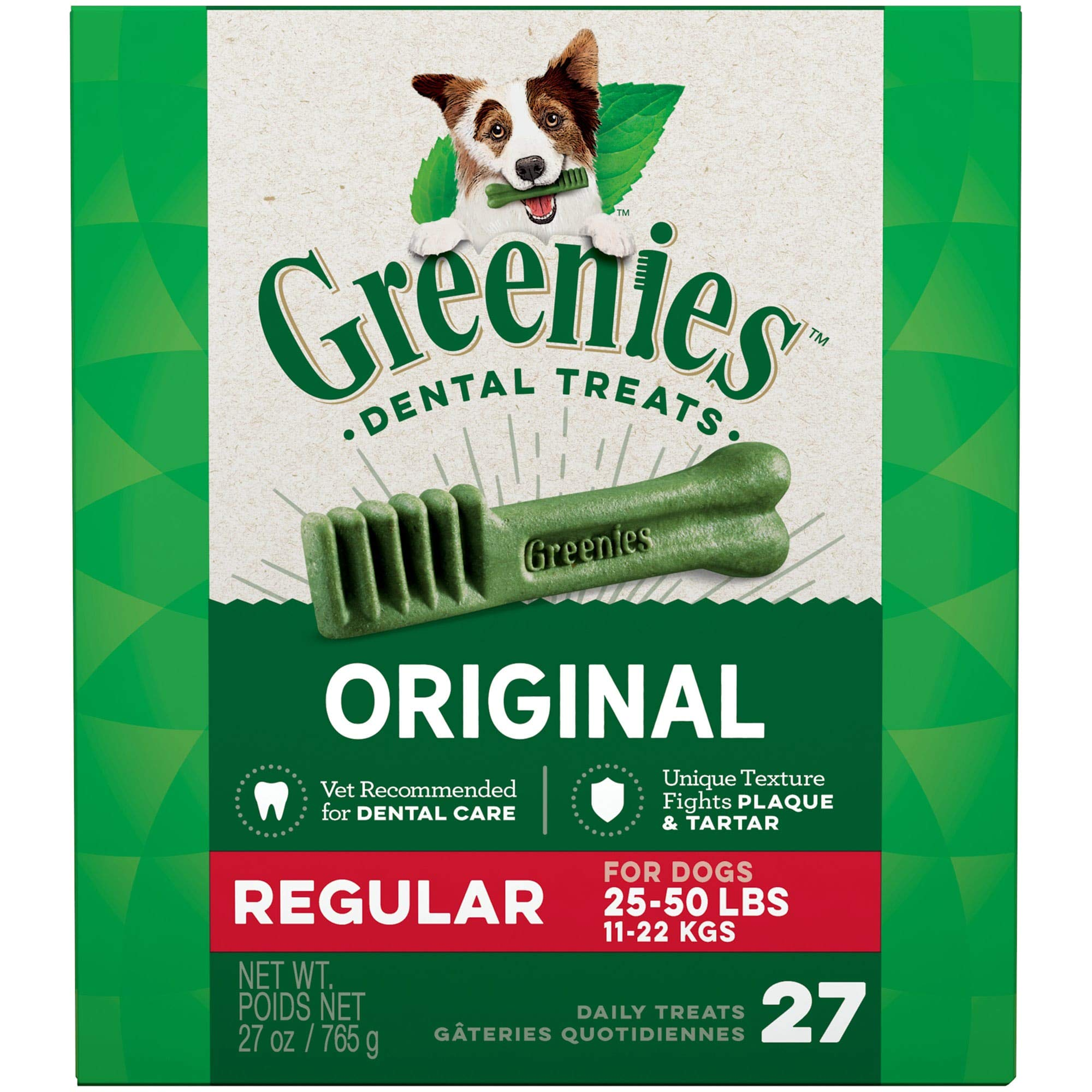 Greenies Original Regular Natural Dental Dog Treats (25 – 50lb. dogs)