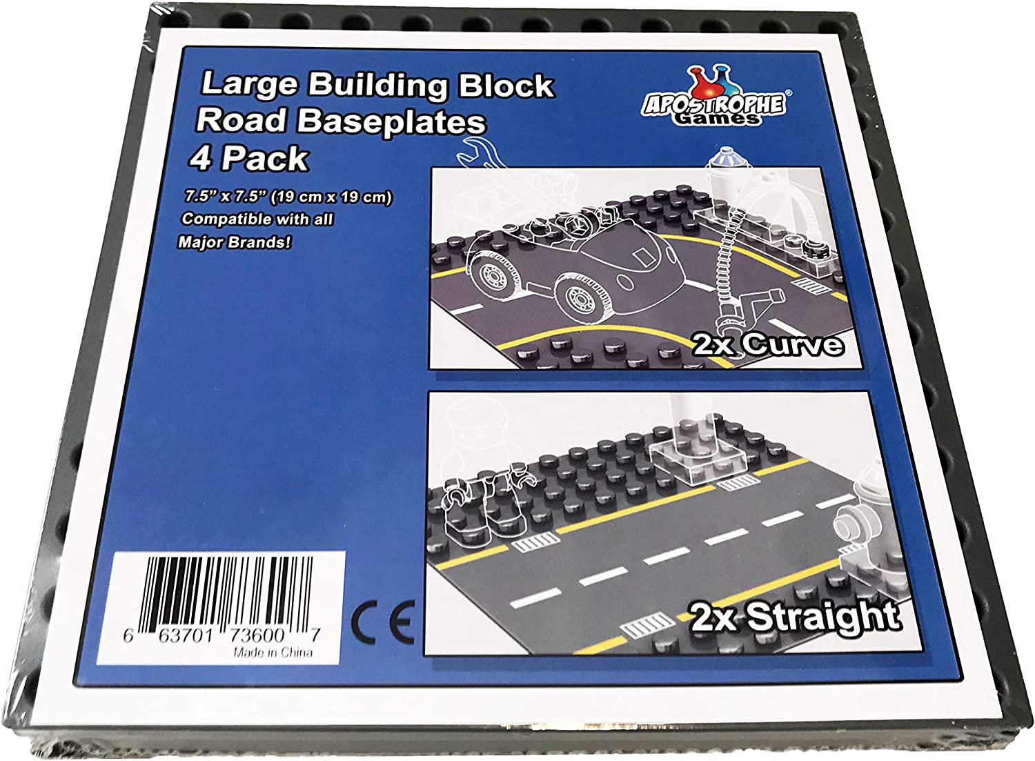 Apostrophe Games Large Building Block Base Plates Compatible with All Major Brands 4 Pack Green, Light Green, Sand, Blue