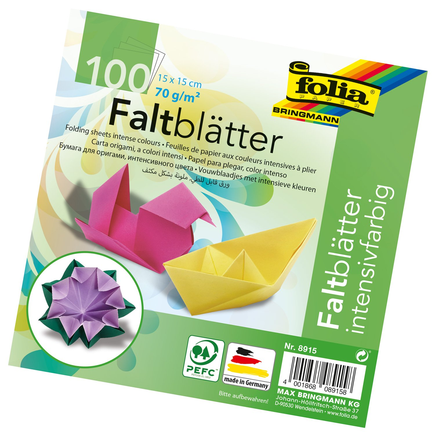 Folia Origami Paper 8-Inch-By-8-Inch Assorted Colors 500 Sheet Bulk Pack Global Art Materials 8970