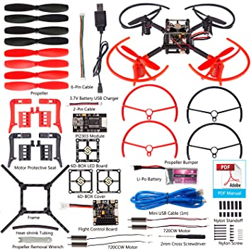 SunFounder 6D-Box MWC Multiwii Drone Quadcopter DIY Starter Kit for Arduino  6-Axis Gyro Compatible with Any Receivers of 4 - 7 Channels PPM PWM (No