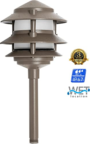 Westgate Lighting LED Area Light – Aluminum – Bronze Finish Pagoda Landscape Light – Warm White – Integrated SMD LED Tower All Accessories Included 12 Bronze