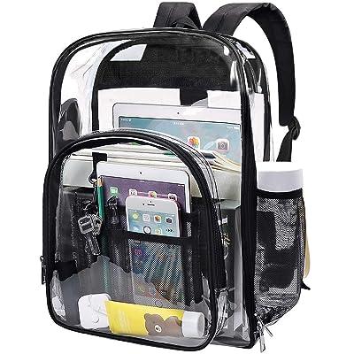 EssFeeni Transparent Backpacks Heavy Duty Clear PVC Backpack Waterproof Bookbags See Through Bag for Girls Boys School Travel Black | Kids' Backpacks