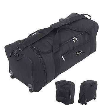 3ea10eae805e 32 Inch Large Folding Wheeled Travel Sports Cargo Holdall Duffle Bag (0  Black)