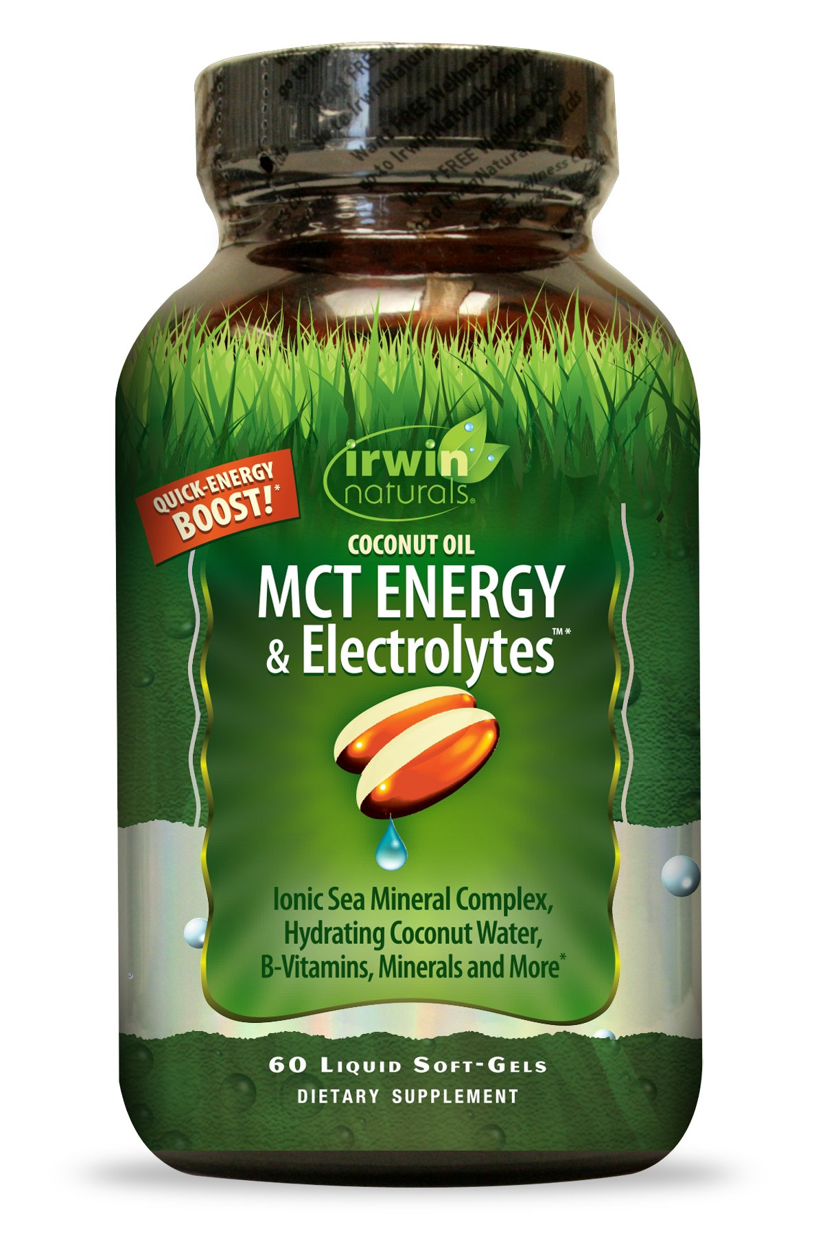 Irwin Naturals Coconut Oil MCT Energy & Electrolytes, Hydrating Ionic Sea Mineral Complex B-Vitamins & Minerals, 60 Liquid Softgels
