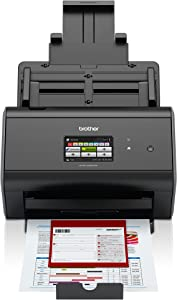 Brother ImageCenter ADS-2800W Wireless Document Scanner, Multi-Page Scanning, Color Touchscreen, Integrated Image Optimization, High-Precision Scanning, Continuous Scan Mode, Black