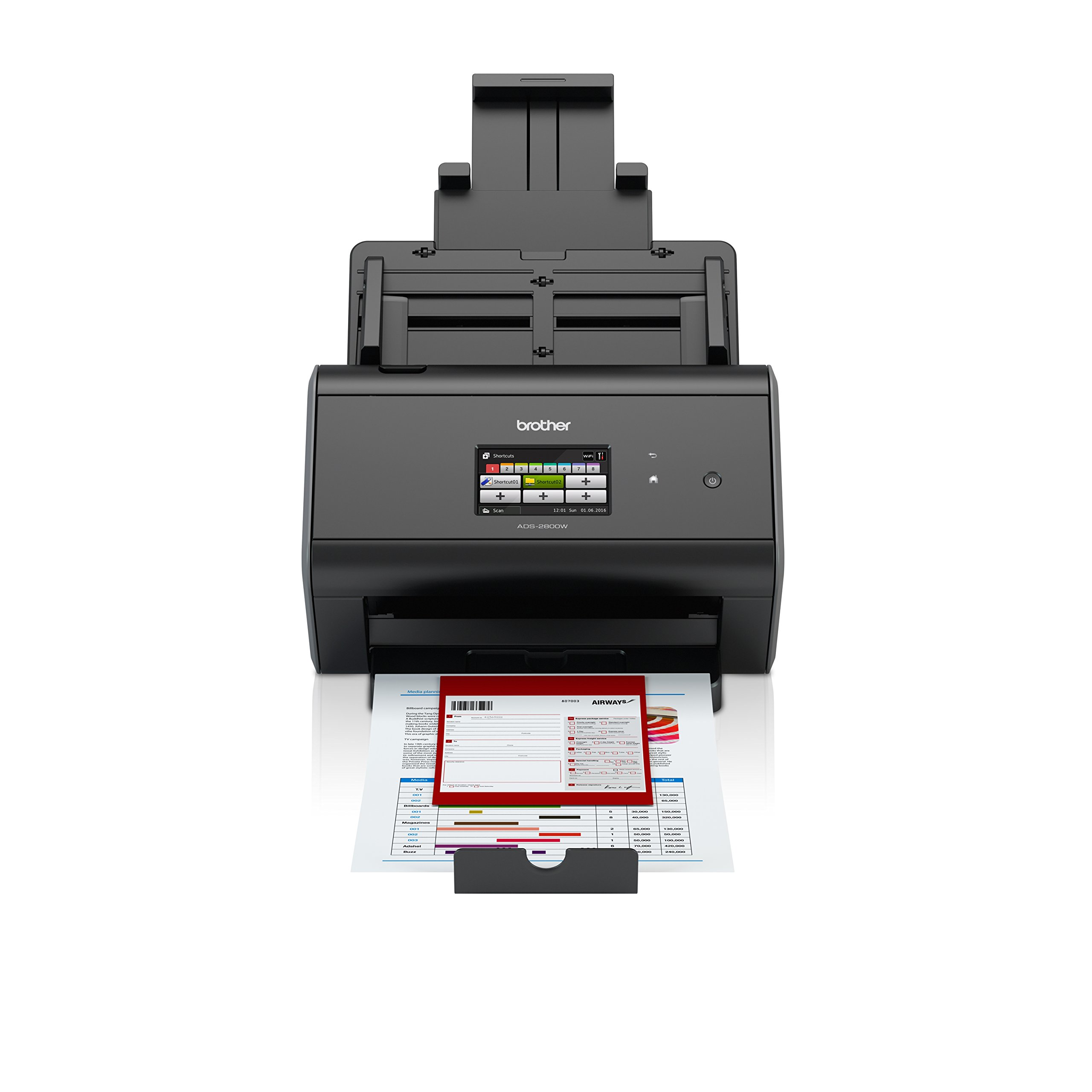 Brother ImageCenter ADS-2800W Wireless Document Scanner, Multi-Page Scanning, Color Touchscreen, Integrated Image Optimization, High-Precision Scanning, Continuous Scan Mode