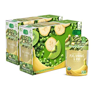 Happy Baby Organics Clearly Crafted Stage 2 Baby Food, Peas, Bananas & Kiwi, 4 Ounce Pouch (Pack of 16)