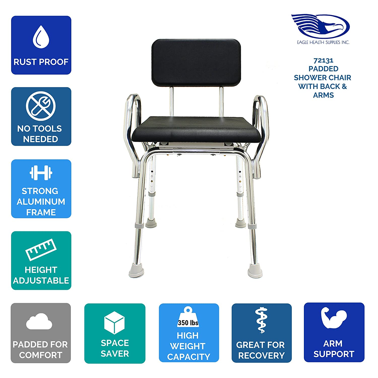 Amazon.com: Padded Shower Chair with Back & Arms (72131) - Bath ...