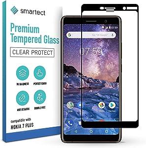 smartect Cristal Templado para Móvil Nokia 7 Plus [FULL SCREEN] - Protector de pantalla 9H - Diseño ultrafino - Instalación sin burbujas - Anti-huella