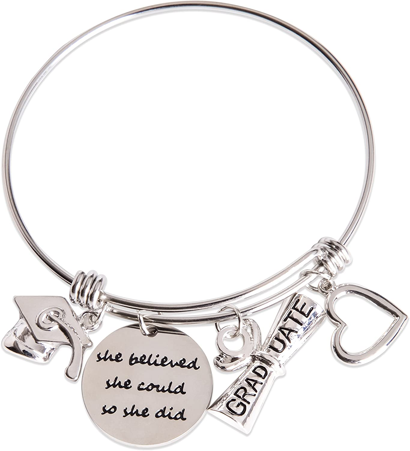 YOUMIYA Graduation Gift Bracelet for Women 2020 Inspirational Gift Jewelry Bracelet She Believed She Could So She Did Adjustable Bangle for Women Girl
