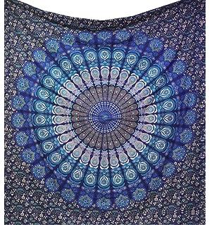 raajsee Mandala Tapestry Round (Blue Mandala, Queen 210 X 220 CMS)