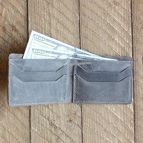 8590d3c420a Amazon.com  Pegai Handcrafted Distressed Leather Classic Minimal Billfold  Cash Card Wallet - Bureau Rock  Handmade